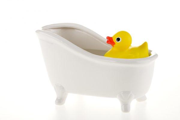 rubber duck in a bath